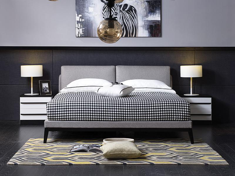 帷思特家具卧室北欧实木双人大床/床头柜