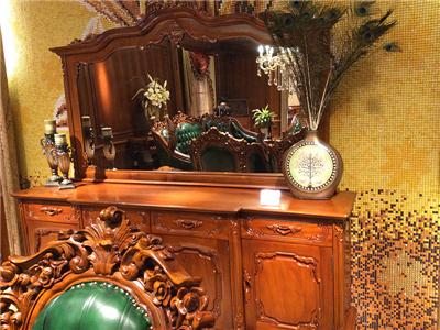 卡洛蔓·润达名家居欧式高端餐厅进口柚木实木雕花餐边柜带镜面