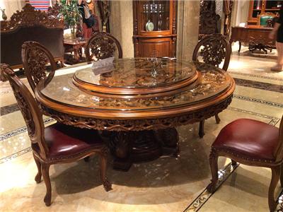 卡洛蔓·润达名家居欧式餐厅豪华别墅实木进口柚木雕花圆餐桌带转盘 餐椅