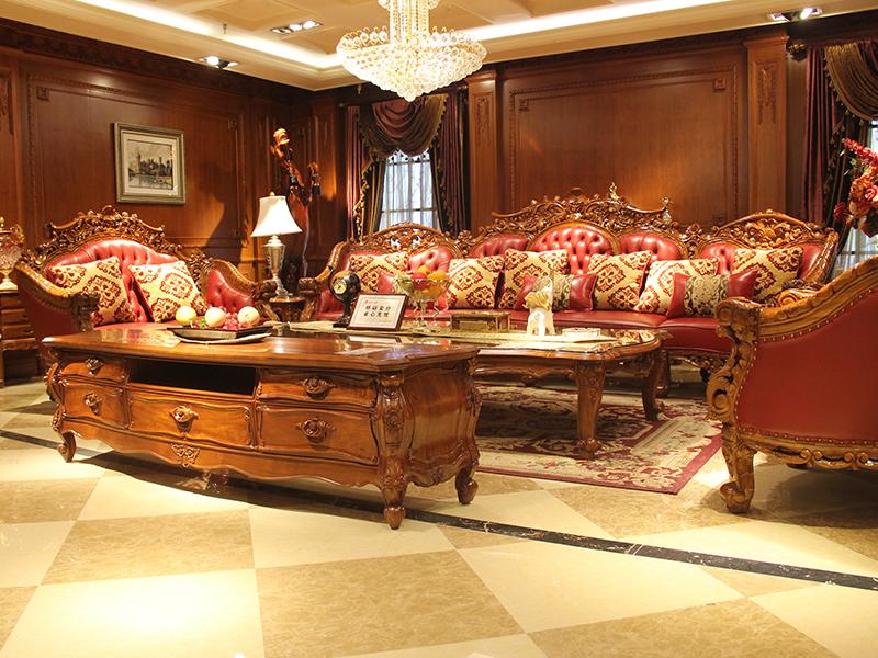 卡洛蔓·润达名家居欧式奢华别墅客厅进口柚木实木多人位皮利发国际组合 茶几 电视柜