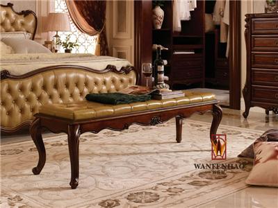 名人居(万芬好)·润达名家居欧式卧室桃花芯木实木床尾凳