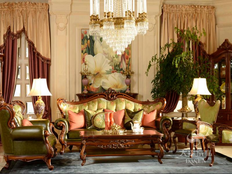 大森家私家具欧美客厅德国榉木实木双人位/单人位/三人位沙发组合Y625/茶几D010-CJ-2