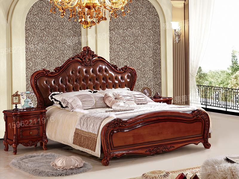 爱普菲斯欧式奢华卧室实木雕花头层牛皮双人大床A811#