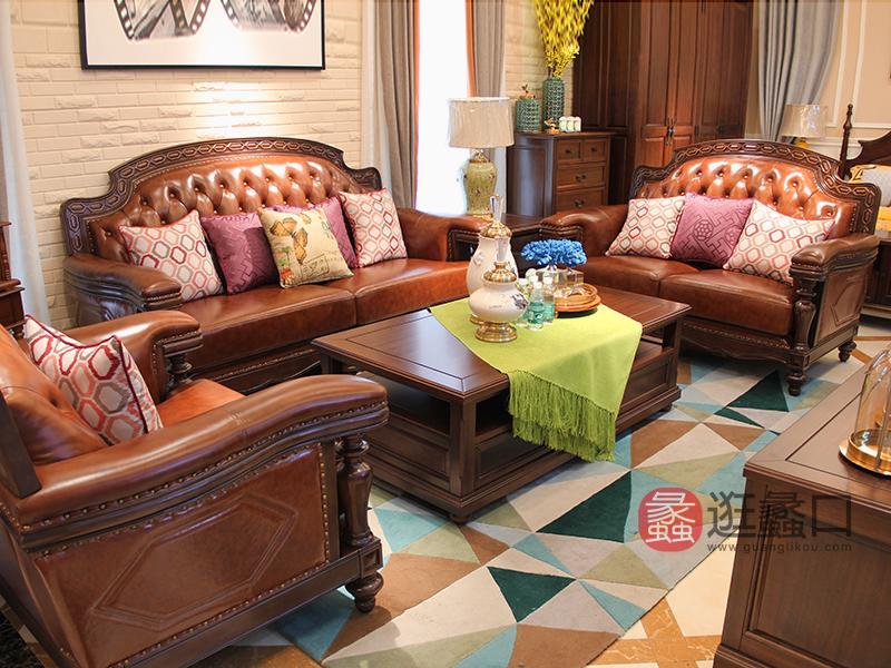 美巴特家具美式客厅实木双人位/三人位/单人位皮艺沙发组合/茶几