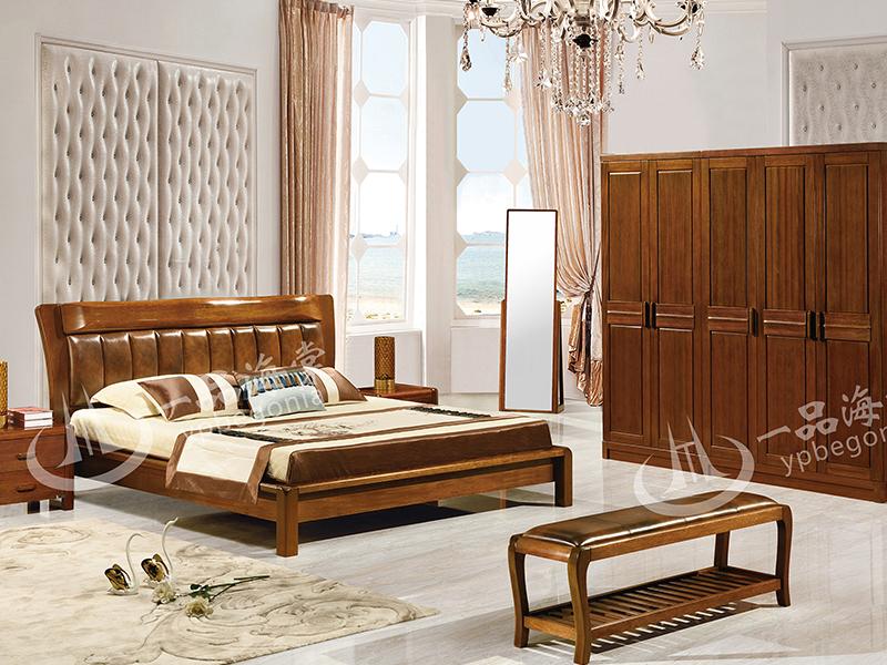 君诺家居·一品海棠家具 中式卧室海棠木实木双人床/床头柜衣柜/床尾凳