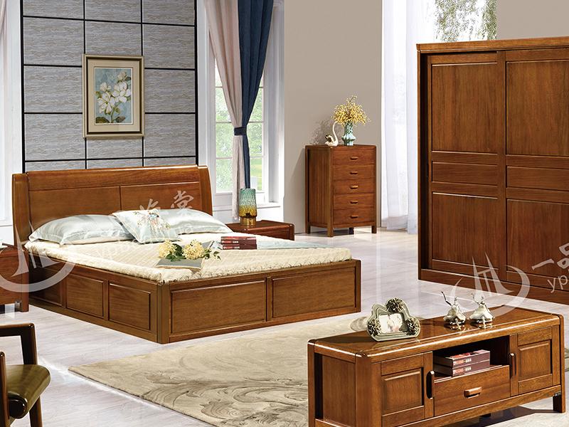 君诺家居·一品海棠家具 中式卧室海棠木实木双人床/床头柜/衣柜