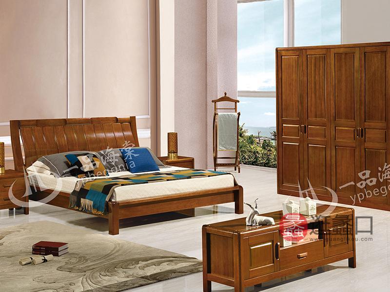 君诺家居·一品海棠家具 中式卧室海棠木实木805双人床/婚床/衣帽架/衣柜/电视柜
