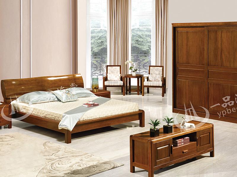 君诺家居·一品海棠家具 现代中式卧室海棠木实木808双人床/婚床/床头柜/衣柜/休闲椅/小圆几