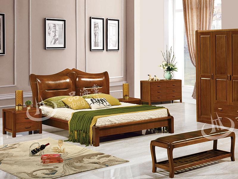 君诺家居·一品海棠家具 中式卧室海棠木实木双人床/婚床/衣柜/床尾凳