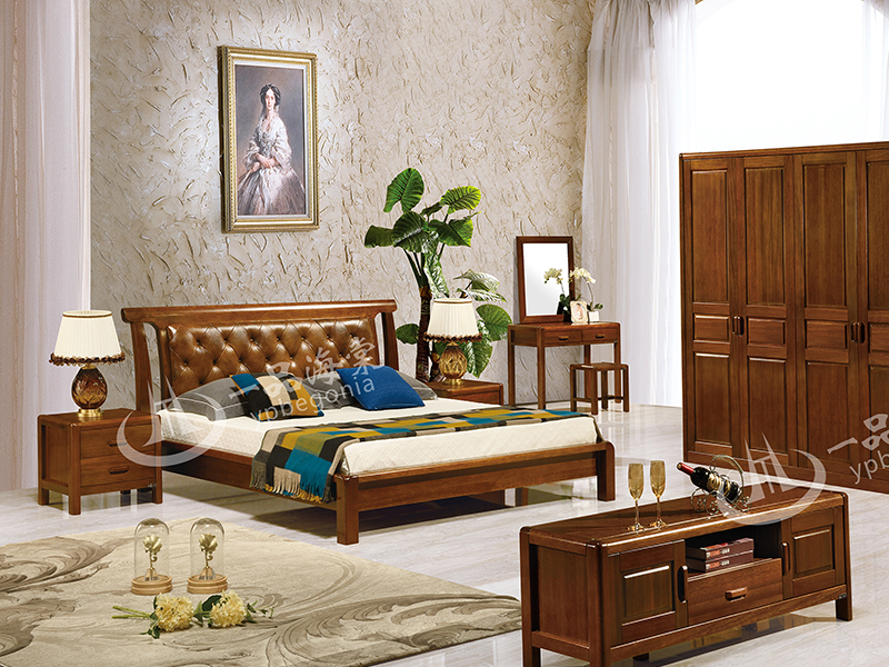 君诺家居·一品海棠家具 现代中式卧室海棠木实木双人床/婚床/衣柜/床尾凳/梳妆台/妆凳