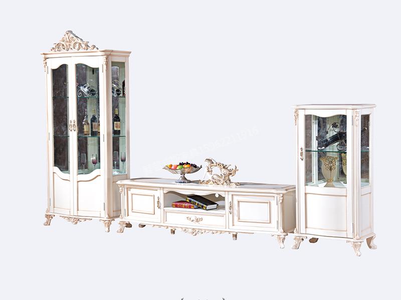 爱普菲斯家具欧式客厅古白色实木单/双门酒柜E20#