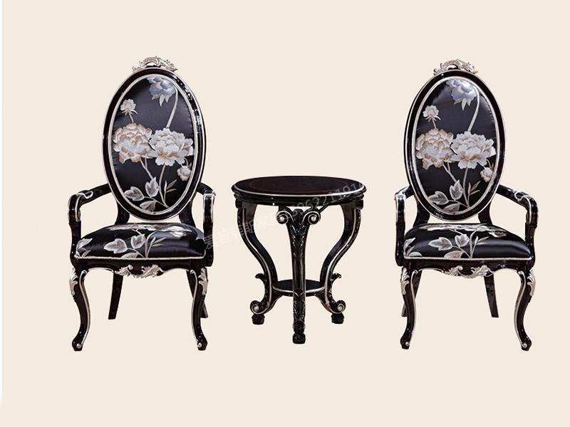 爱普菲斯家具新古典卧室黑檀色实木休闲桌C01#/C12#扶手椅