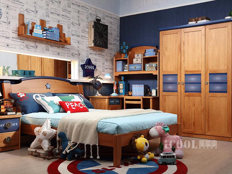 星星索儿童家具卧室松木实木儿童床/三门衣柜/儿童书桌/书椅/男孩单人床/床头柜