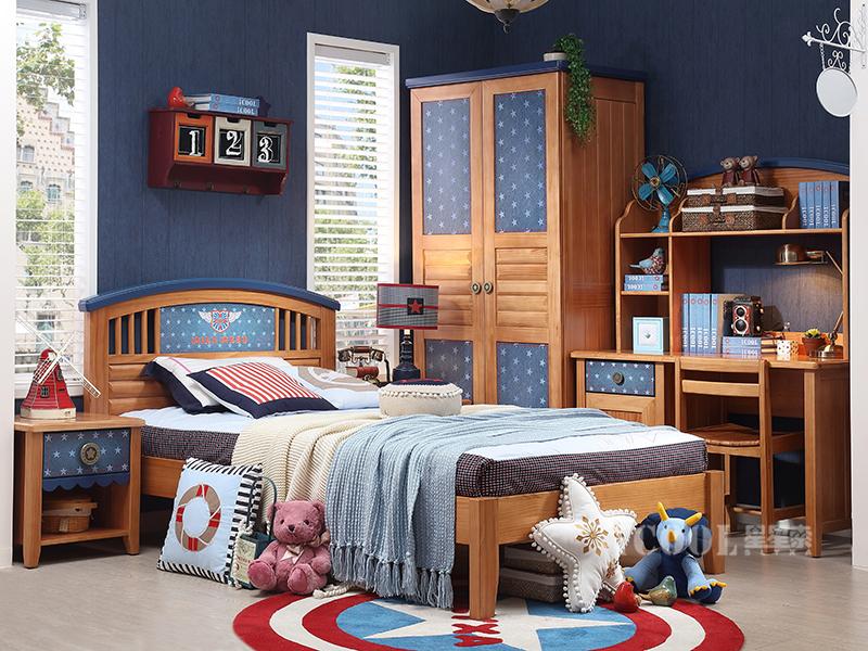 星星索儿童家具卧室松木儿童床WAA007-12/两门衣柜/书桌/上书架/书椅/床头柜/男孩