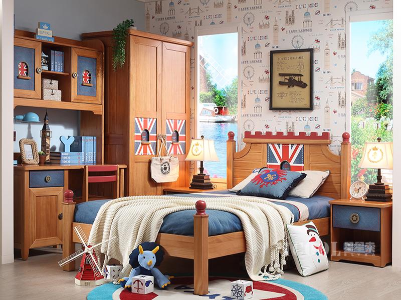 星星索儿童家具卧室松木实木儿童床/床头柜/双门衣柜/书桌椅