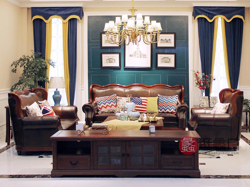 美巴特家具美式客厅实木双人位/三人位/单人位沙发组合/茶几/电视柜