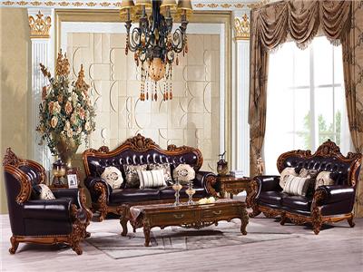 帝欧华庭家居欧式客厅深色全实木三人位+单人位+双人位利发国际组合850/长茶几
