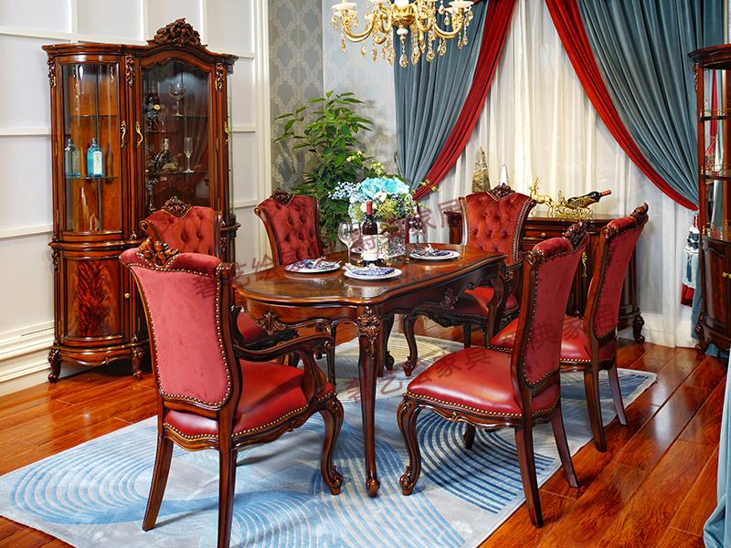 奢艺绘家具·爵典家居欧式餐厅深色实木雕花长餐桌SY201