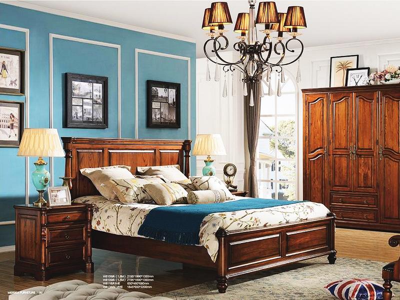 美伦卡家具美式卧室实木复古白色双人床W8109/床头柜W8118/四门衣柜W8138