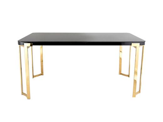 有有家家居网 洛克系列简约现代餐厅餐桌椅现代简约时尚黑色烤漆1.6米餐桌