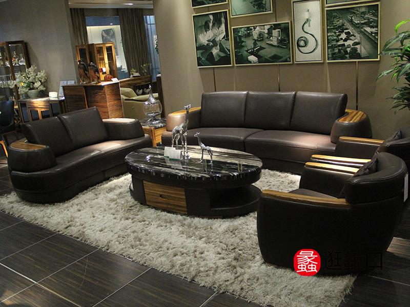 悍将家具现代客厅头层牛皮双人位/三人位/单人位软体沙发/大理石面茶几