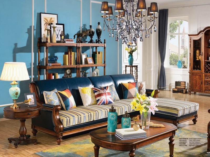 美伦卡家具美式客厅实木转角沙发k8806/长茶几/休闲几/酒柜