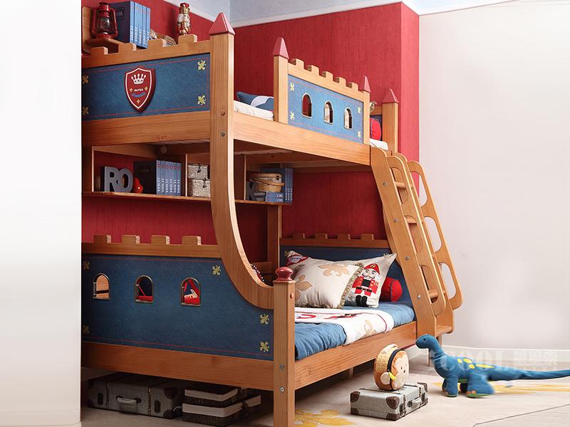 星星索儿童家具 卧室松木实木儿童功能双层床小城堡双层床WHA002-0912/上下铺男女孩子都能用