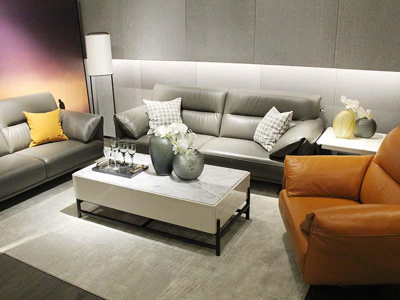 斯帝罗兰现代简约客厅牛皮1+2+3沙发组合