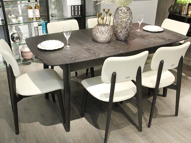斯帝罗兰现代简约餐厅板木一桌六椅组合