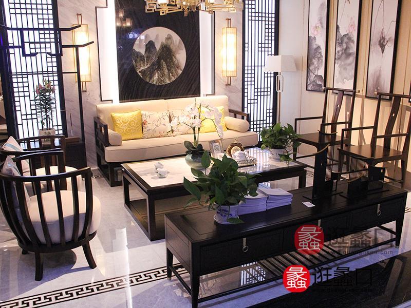 林氏家具新中式客厅实木框架布艺软包三人位沙发/茶几/电视柜