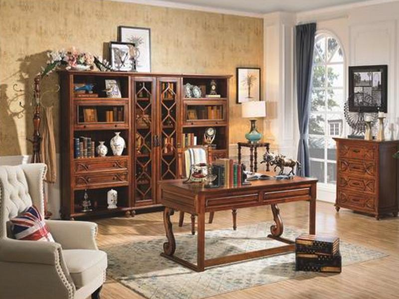 美伦卡家具美式书房实木书桌椅/S8901组合书柜