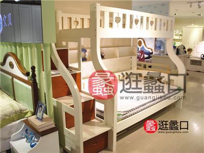 华童家具儿童白色实木母子上下床带楼梯