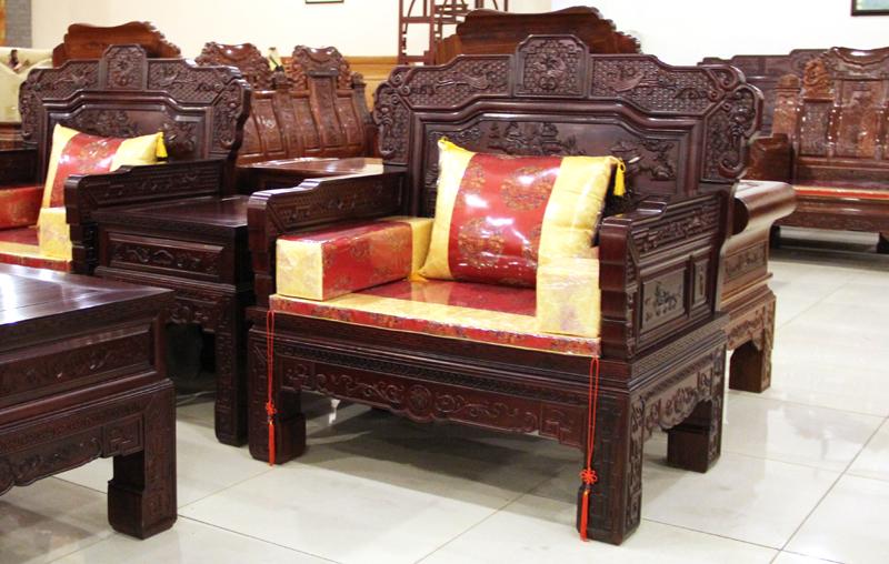 振鑫红木家具中式古典非洲酸枝汉宫沙发11件套