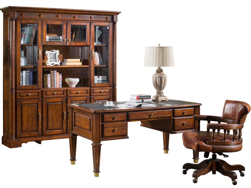 凯迪斯顿家具美式书房书柜美式乡村实木书柜欧式简约复古带门大书橱书房家具V602-2