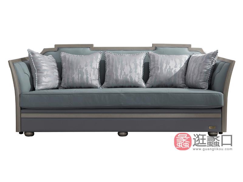 蔓迪家具轻奢客厅沙发轻奢美式真皮沙发轻奢牛皮沙发实木沙发8630皮沙发