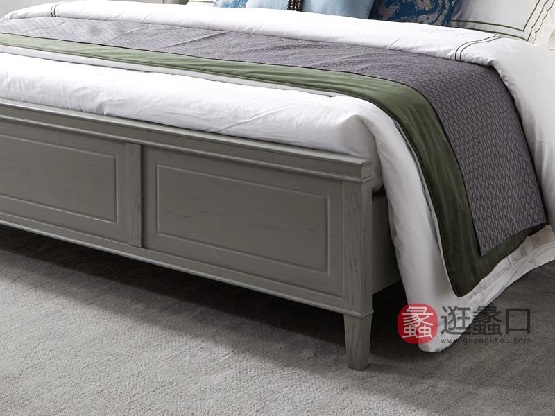 莫兰迪轻奢家具轻奢卧室床轻奢新美式床真皮床实木床8530床