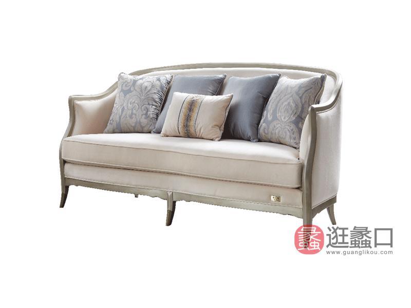 莫兰迪轻奢家具轻奢客厅沙发轻奢新美式真皮沙发实木沙发组合8632沙发