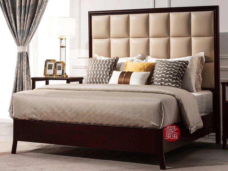 帕萨蒂家具轻奢卧室床轻奢美式实木牛皮床卧室实木床真皮床S35-A皮床