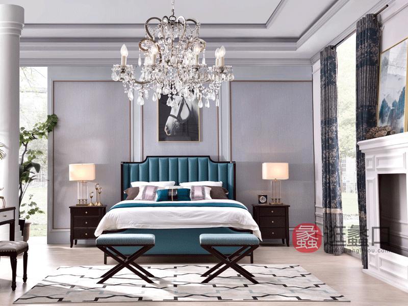 帕萨蒂家具轻奢卧室床轻奢美式牛皮床卧室实木床真皮床S-52蓝皮床/灰皮床