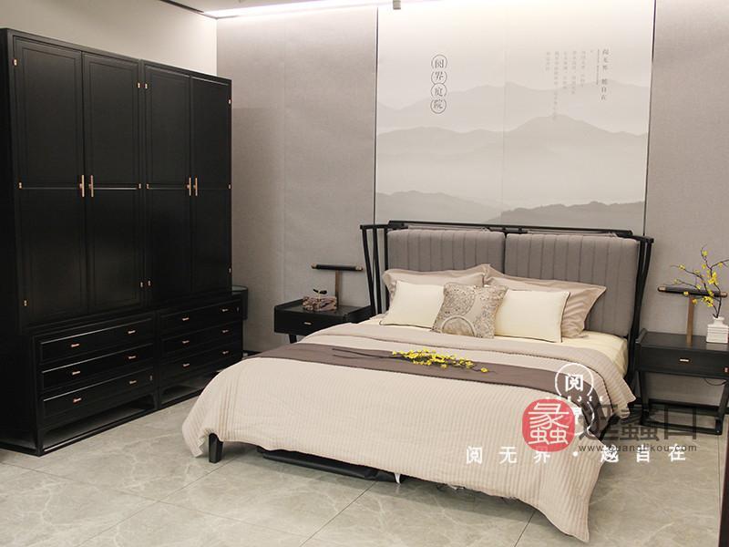 阅界新中式家具新中式卧室简约软靠双人舒适大床+床头柜+衣柜组合