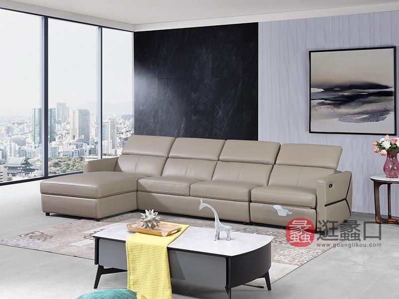 汇垄雅美家具现代客厅沙发现代简约带功能位进口头层牛皮沙发C3236沙发多功能沙发带拉床单人位+三人位+贵妃位