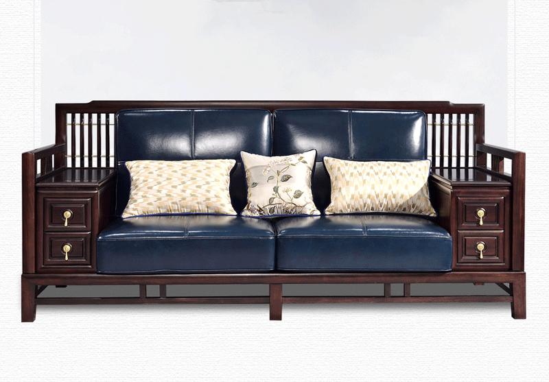 TX605SF新中式沙发组合 实木沙发 檀木真皮沙发组合高端家具 大户型现代中式家具