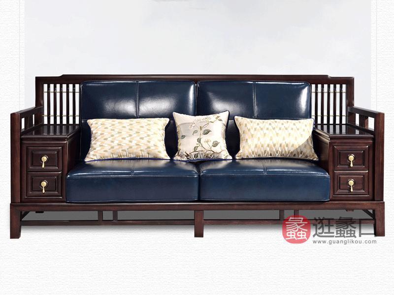 雅沐家具客厅沙发TX605SF新中式沙发组合三人位 实木沙发 檀木真皮沙发大户型现代中式家具