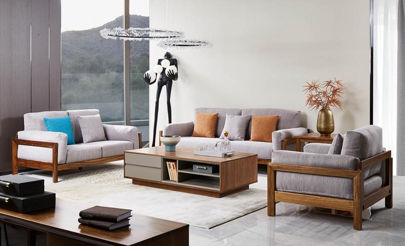 洛克现代客厅沙发乌金木布艺沙发W-8108单人位+双人位+三人位