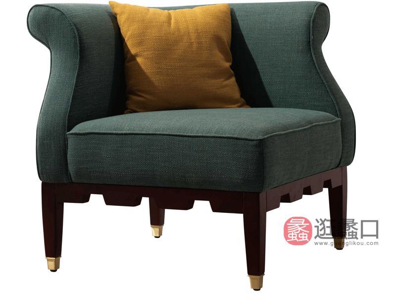 帕萨蒂家具美式客厅休闲椅美式客厅休闲椅实木布艺休闲椅S631休闲椅