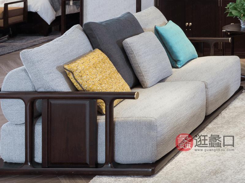 斯可馨家居新中式客厅沙发客厅沙发布艺沙发组合棉麻小叶龙凤檀木沙发组合客厅沙发组合011