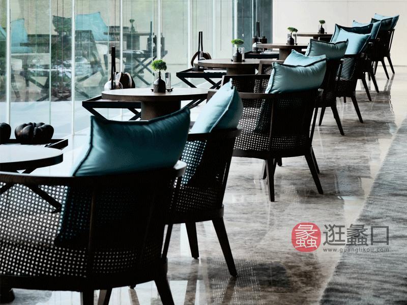 赫庭家具新中式客厅沙发休闲椅酒店家具酒店大堂家具沙发新中式沙发茶几001