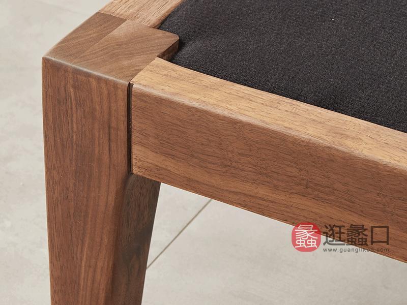 希恩家具北欧客厅沙发SP8819实木沙发组合 转角沙发 小户型沙发北欧风格黑胡桃木沙发