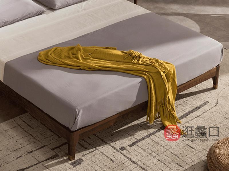 希恩家具北欧卧室床Y0089北欧实木床 黑胡桃木床1.8米1.5米 北美胡桃木FAS级北欧实木床