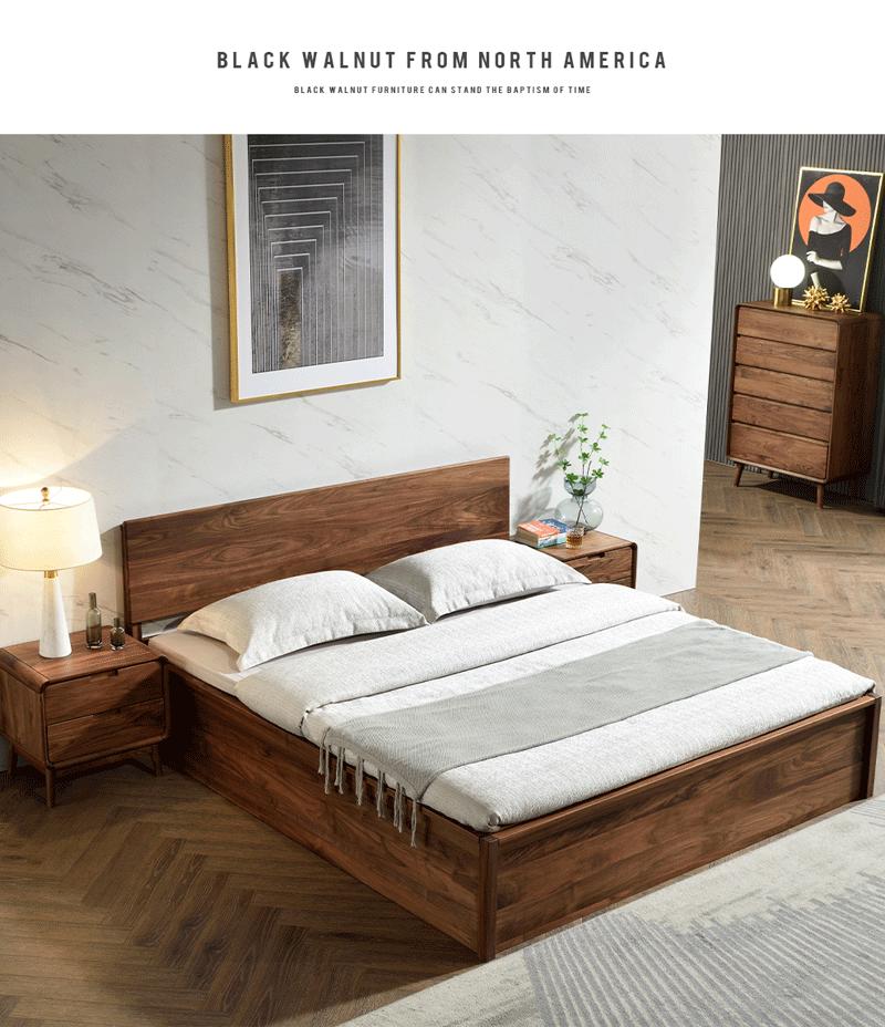 YC029实木高箱床1.8米储物床 北美黑胡桃木床 原木日式风格家具1.8米现代简约主卧双人床 1.8米实木床【高箱床】